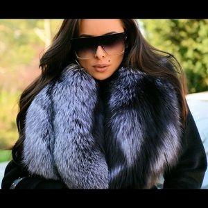 NEW $3750 La Furia Black Cashmere/Silver Fox Coat